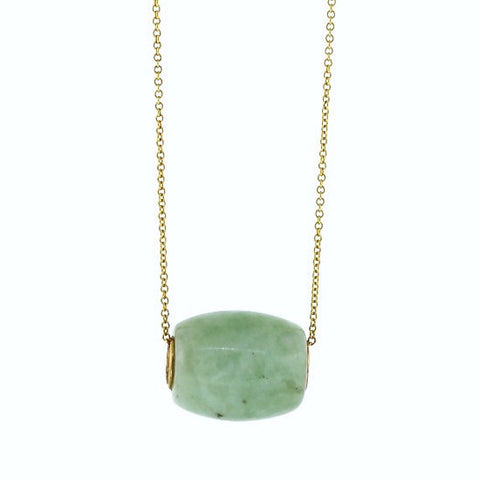Estate Jade Slide 14K Yellow Gold Necklace NK2298
