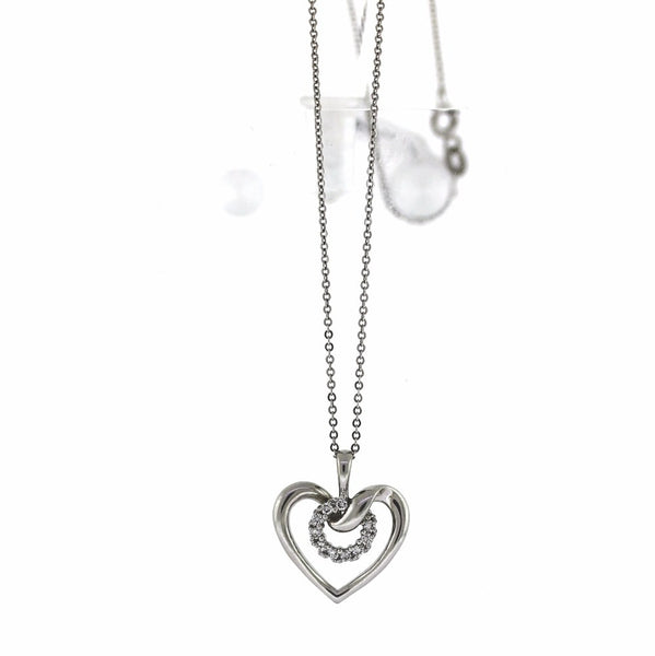 "Estate 11 Round Brilliant = .33ctw 18"" Chain Heart 3.2gr 14K White Gold Necklace NK2306"