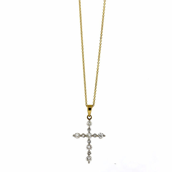 Estate 11 Round Brilliant = .40ctw Cross .8gr 14K Yellow Gold Necklace NK2313