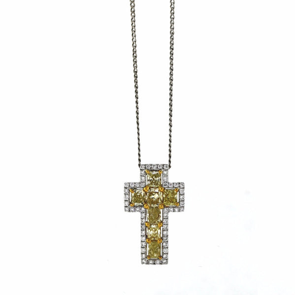 51 Round Brilliant = .43 7 = 1.93ct Fancy Yellow Cross 2.9gr Two Tone 18K Gold Necklace NK2395