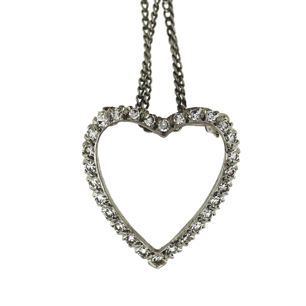 "Estate Heart .50ctw Diamonds by the Yard Chain 18"" 14K White Gold Necklace NK2467"