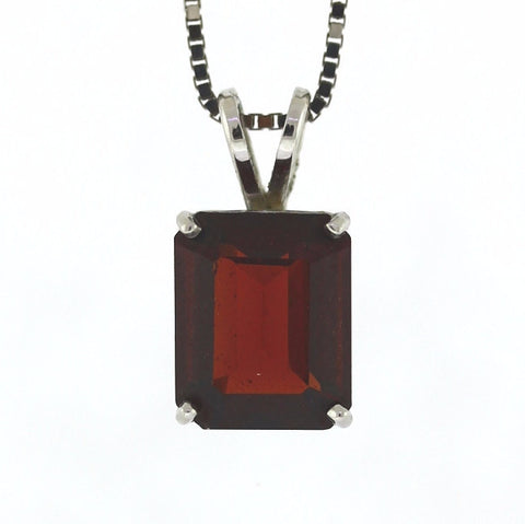 3ct Garnet, 3.9g 14K White Gold Necklace NK2470