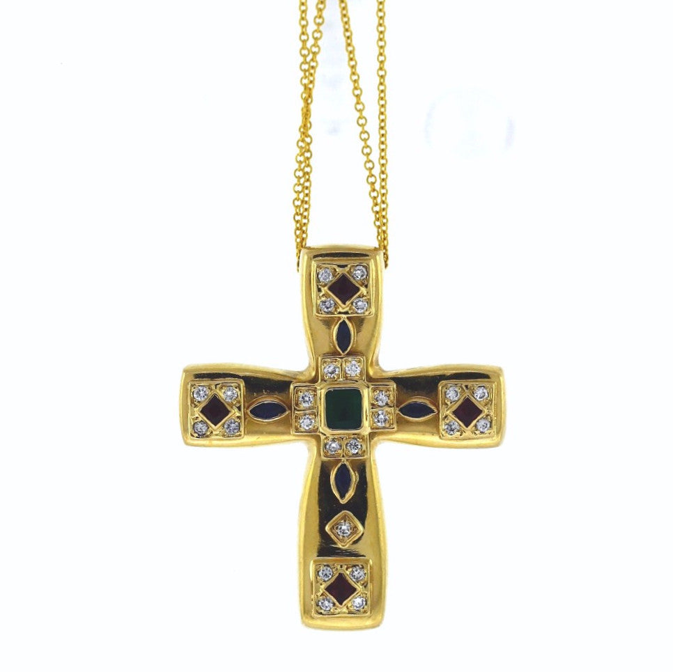 Estate 24 Round Brilliant = .25 Emerald, Ruby, Sapphire 17gr Custom Cross 14K Yellow Gold Necklace NK2503