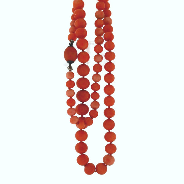 "Estate Grauated Coral beads 5.8-9.0mm 24"" Cobalt Necklace NK2531"