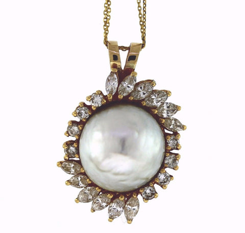 Estate Mabe Pearl 12 Marquise = 2.00 8 Round Brilliant = .75 15.61gr 14K Yellow Gold Necklace NK2543