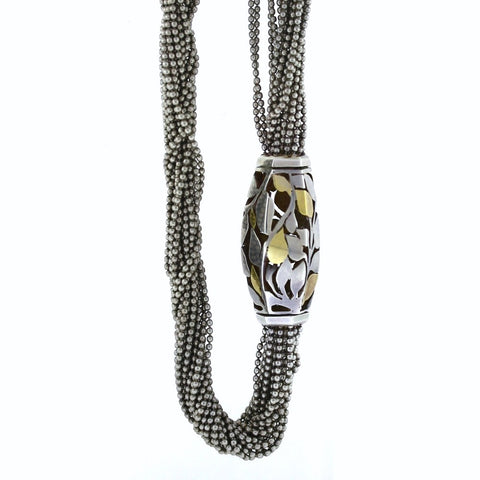 Estate Cartier Multi-strand barrel clasp 66.0gr Silver & 18K Gold Necklace NK2545