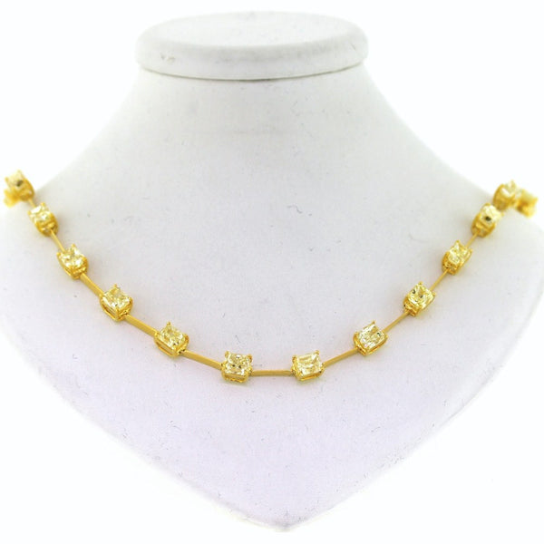 "27 Radiant Cut = 26.94ctw 24.97gr 16"" 18K Yellow Gold Necklace NK2580"