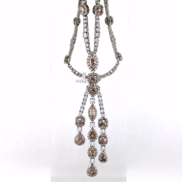 "24 Fancy Pink = 10.07493 Round Brilliant = 11.55 16"" 36.31g 18K White Gold Necklace NK2583"
