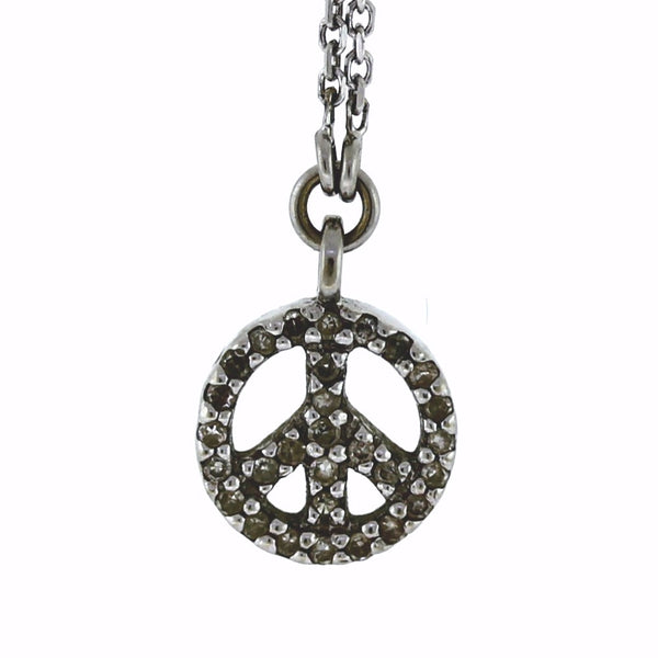 Estate Peace Sign .20ctw With Chain 14K White Gold Necklace NK2593