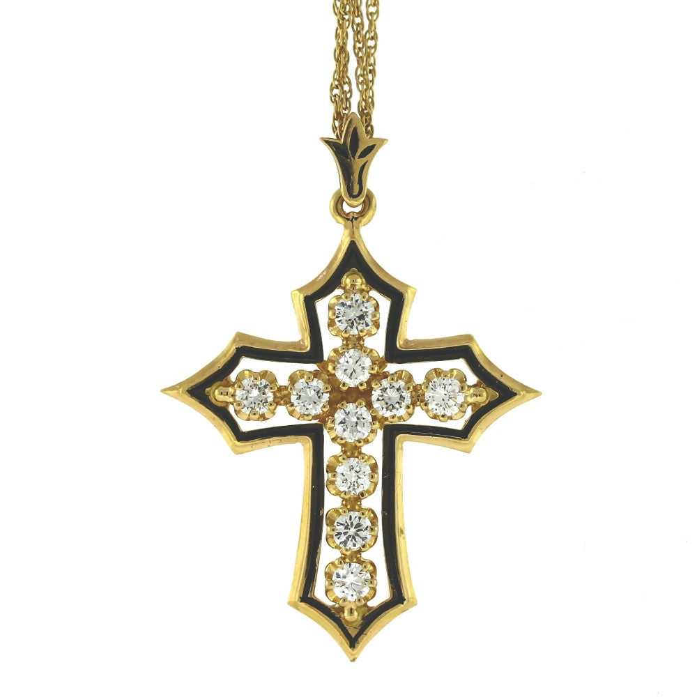 "Estate Diamond & Enamel Cross 1.50ctw 16"" CHAIN 6.6gr 14K Yellow Gold Necklace NK2609"