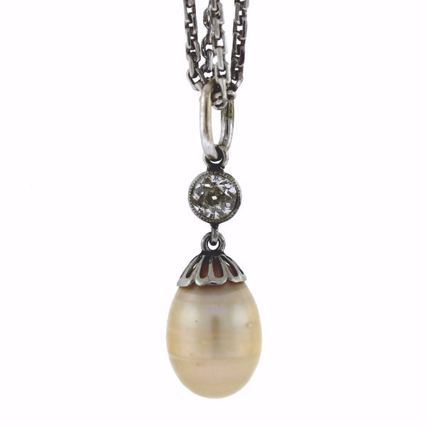 "Estate Pearl & Old European Cut .30cts Drop 6.3gr 18"" Chain 14K White Gold Necklace NK2610"