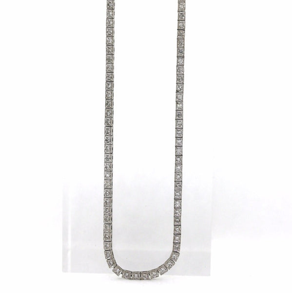 "Estate 150 Round Brilliant = 3.00ctw 18.50gr 18.5"" 14K White Gold Necklace NK2619"