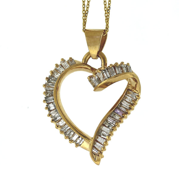 Estate 37 Tapered Baguette = 1.00 Heart 4.0gr 14K Yellow Gold Necklace NK2633