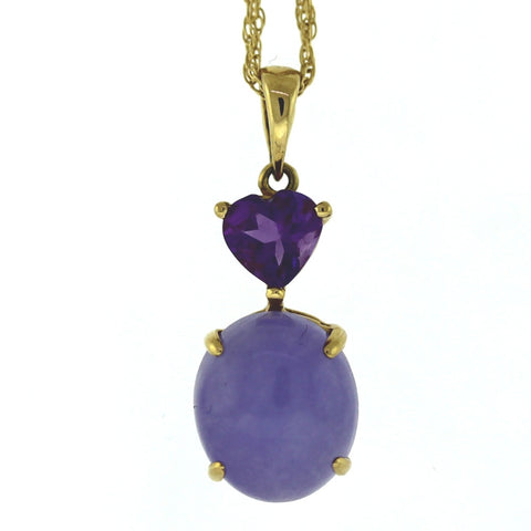 Estate Oval Lavender Jade W/ Heart Shape Amethyst Stamped Hong Kong 2.6gr 14K Yellow Gold Necklace NK2639