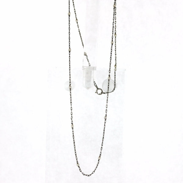 "18"" Chain with 18 Pearls Platinum Necklace NK2650"