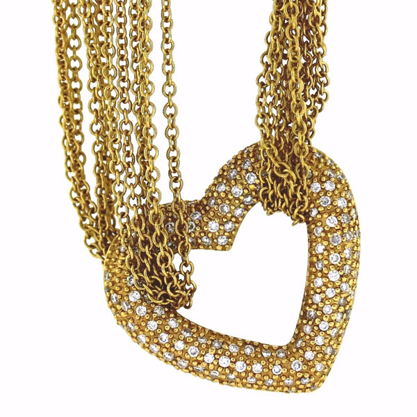 Estate 155 = 2.00cts Heart 12 strand 39.1gr 18K Yellow Gold Necklace NK2652