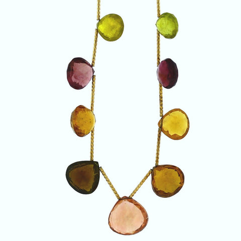 Estate Multi-Color faceted Tourmaline, Peridot, Citrine 12.7gr Toggle 14K Yellow Gold Necklace NK2654