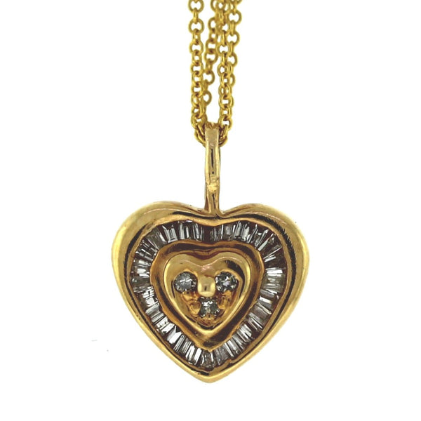 Estate Baguette & Round Heart 2.22gr 14K Yellow Gold Necklace NK2670