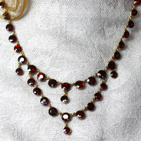Estate Georgian Almandine Garnet Swag Period Piece 9K Rose Gold Necklace NK2675