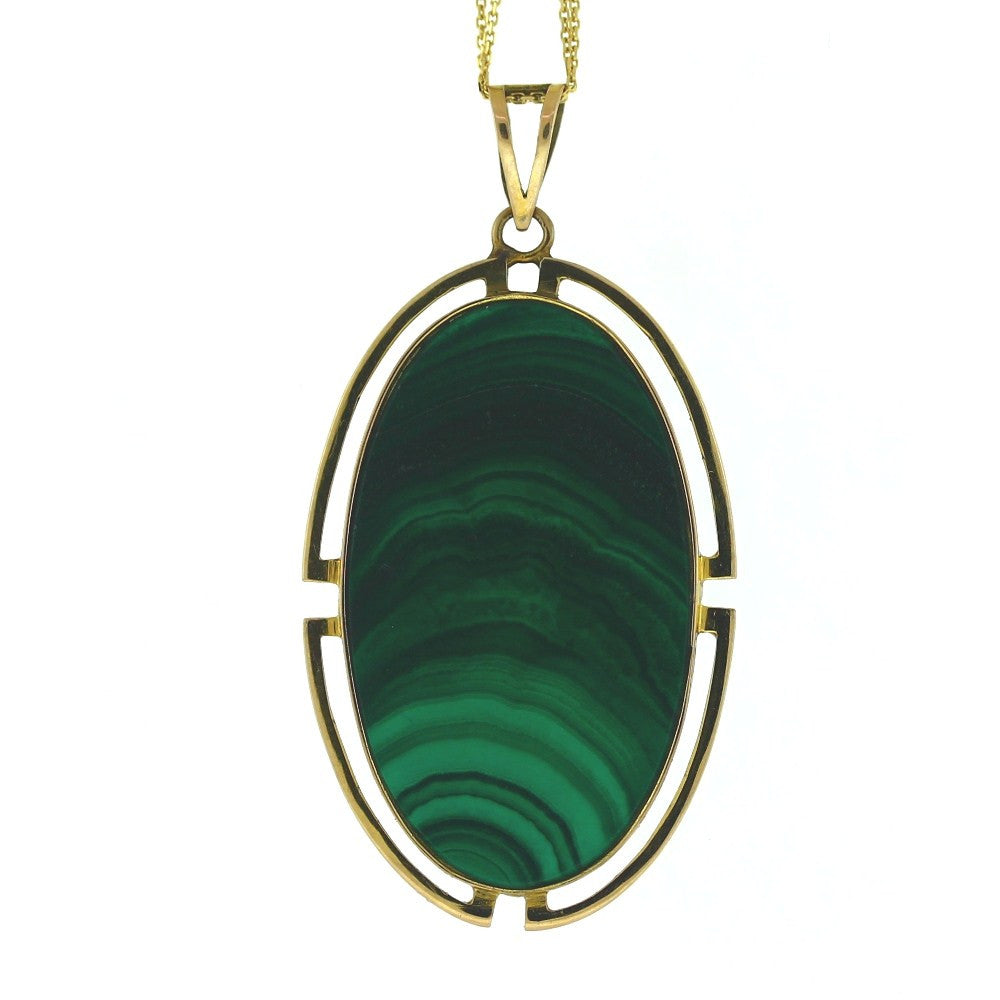 Estate Oval Malachite 10.9gr 14K Yellow Gold Necklace NK2682