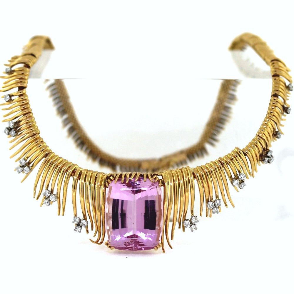 "Estate Custom Kunzite Approx. 50ct & Diamond 80.8gr 16"" 18K Yellow Gold Necklace NK2692"