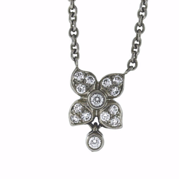 "Estate ""Movado"" Flower 14 Round Brilliant = .50ctw 8.2gr 16"" 18K White Gold Necklace NK2693"