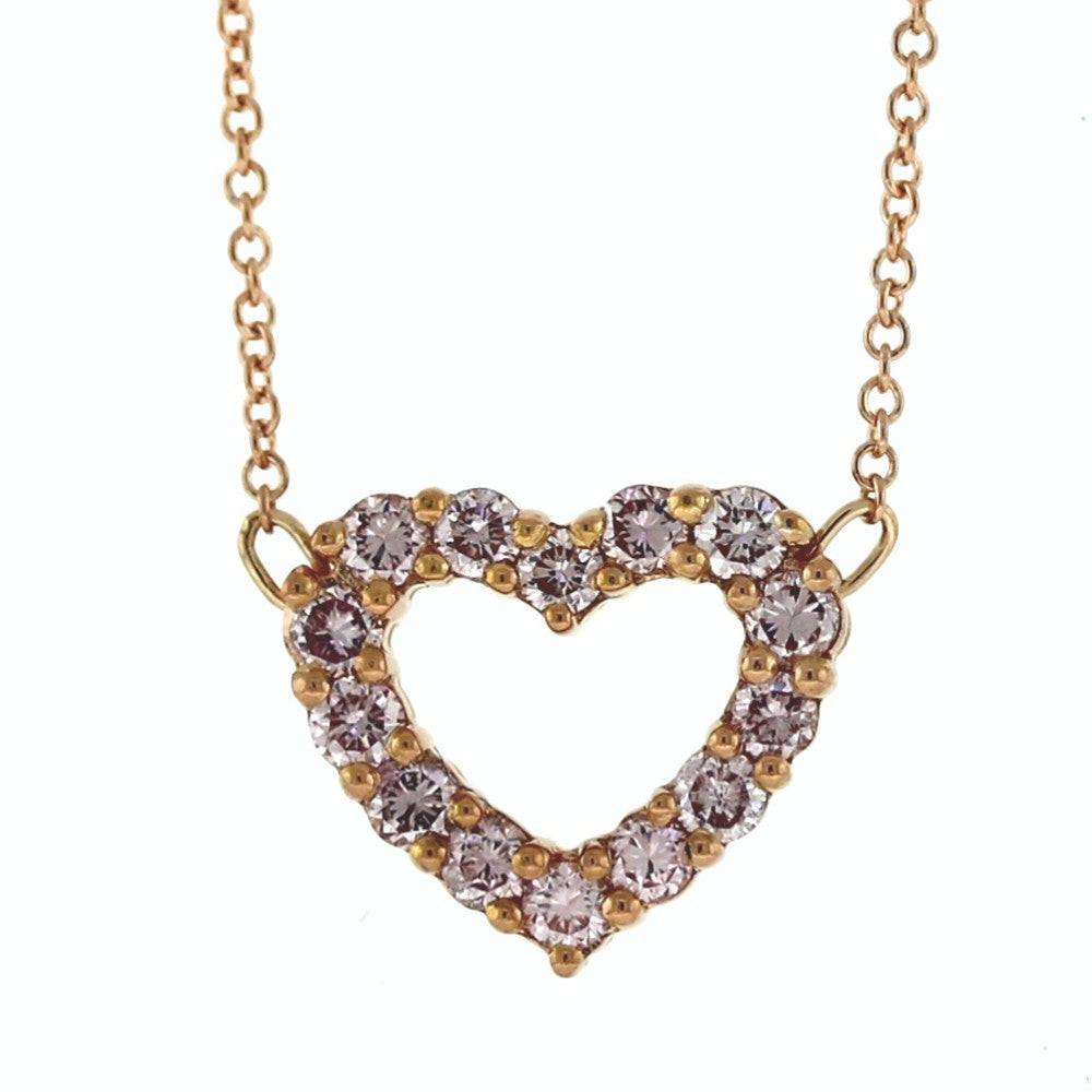 "14 Pink Diamonds = .45ctw 16"" 14K Chain Heart 18K Rose Gold Necklace NK2730"
