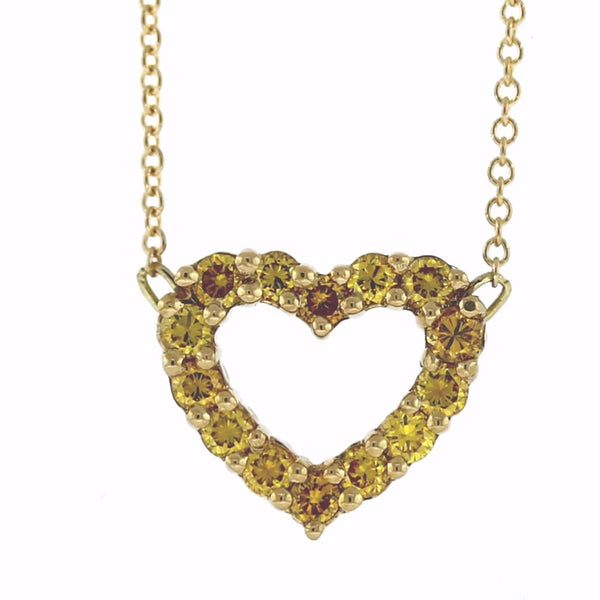 "14 Fancy Yellow Diamonds= .45ctw 16"" Chain Heart 18K Yellow Gold Necklace NK2733"