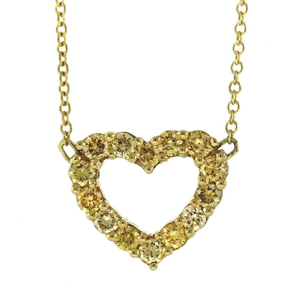 "14 Fancy Yellow = .45ctw 16"" Chain 18K Yellow Gold Necklace NK2737"