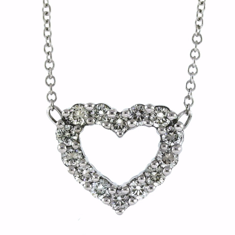 "14 Round Brilliant = .45ctw 16"" Chain 18K Heart Shaped White Gold Necklace NK2741"