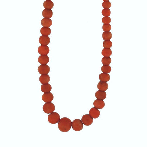Estate Graduated Coral Bead Necklace 24