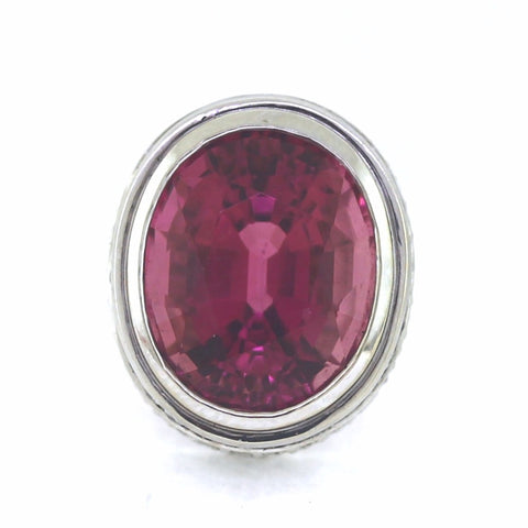 Estate Oval Pink Tourmaline = 15ct 120 Round Brilliant Diamonds = 3.00ctw 10.45gr, 18K White Gold Necklace NK2804