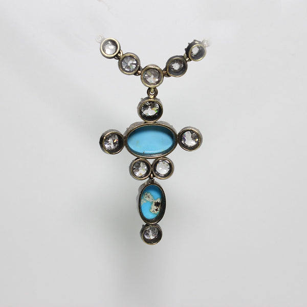 "11 Old Mine Cut Diamond  = 5.00ctw 2 Oval Cabochon Persian Turquoise  18"" 11.9gr  Necklace NK2959"