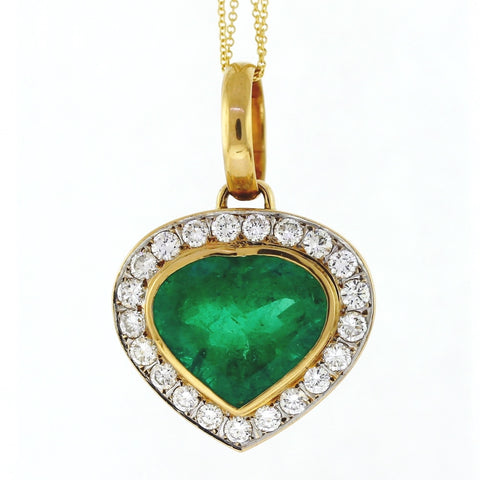 Estate Heart Shape Emerald = 13.00ct 21 Diamonds = 2.10ctw 21.0gr 18K Yellow Gold Necklace NK3013