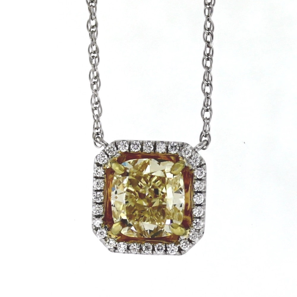 "1 Cushion Cut Fancy Yellow Light VS1 Diamond = 3.01ct GIA28 Round Brilliant Diamonds = .17ctw 3.7gr 18"" Two Tone 18K Gold Necklace NK3033"