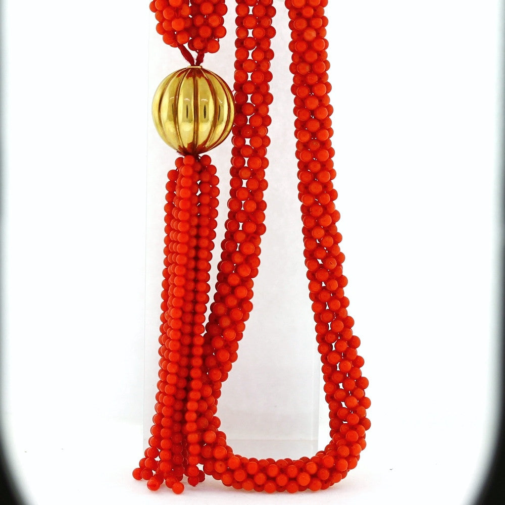 "Estate Red Coral Lariat 22mm scallped bead 32"" 14K Yellow Gold Necklace NK3062"