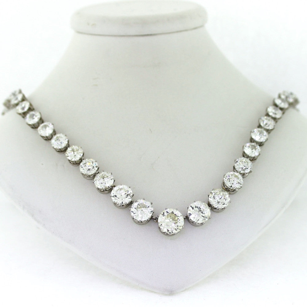 "Estate Turn of Century 57.00 ctw Center 3.25 16.5"" H / I VS (Converts into bracelet) Platinum Necklace NK3065"