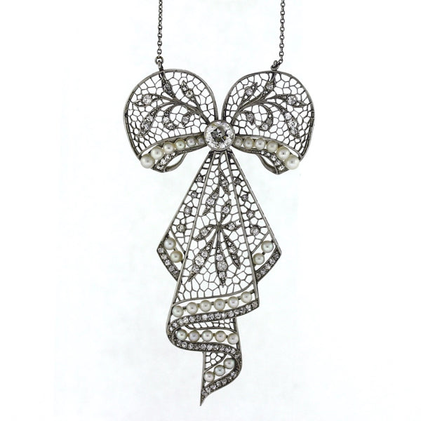 "Estate Edwardian Bow Approx .90 Center Round Diamonds = 1.00 ctw and Pearls 22.3gr 15.5"" Platinum Necklace NK3104"