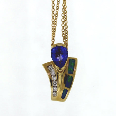 Estate Tanzanite & Opal Inlay 6 Round Diamond = .15 ctw 2.6gr 14K Yellow Gold Necklace NK3106