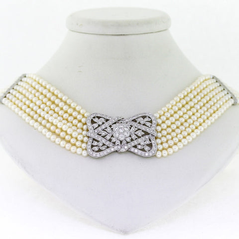 Estate 7 strand pearl choker with diamond floral ribbon panel center 133 Round Diamonds = 3.00 ctw 13