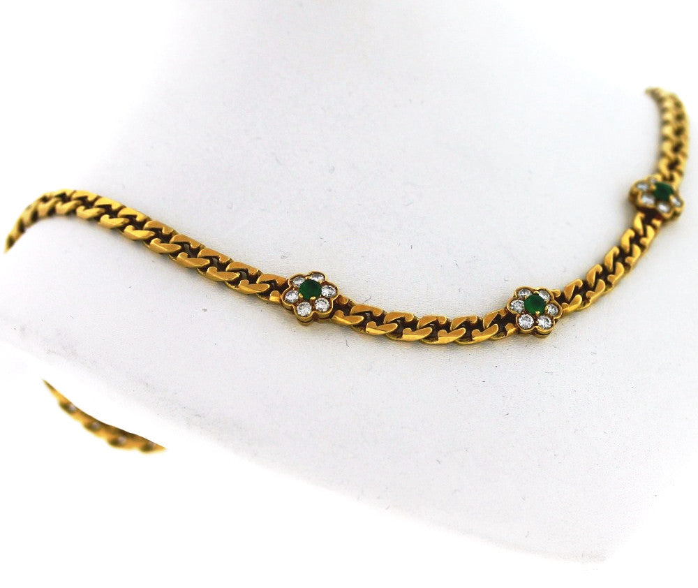 "Estate ""Fred"" Emerald & Diamond 35.31gr 14.5"" 18K Yellow Gold Necklace NKX006"