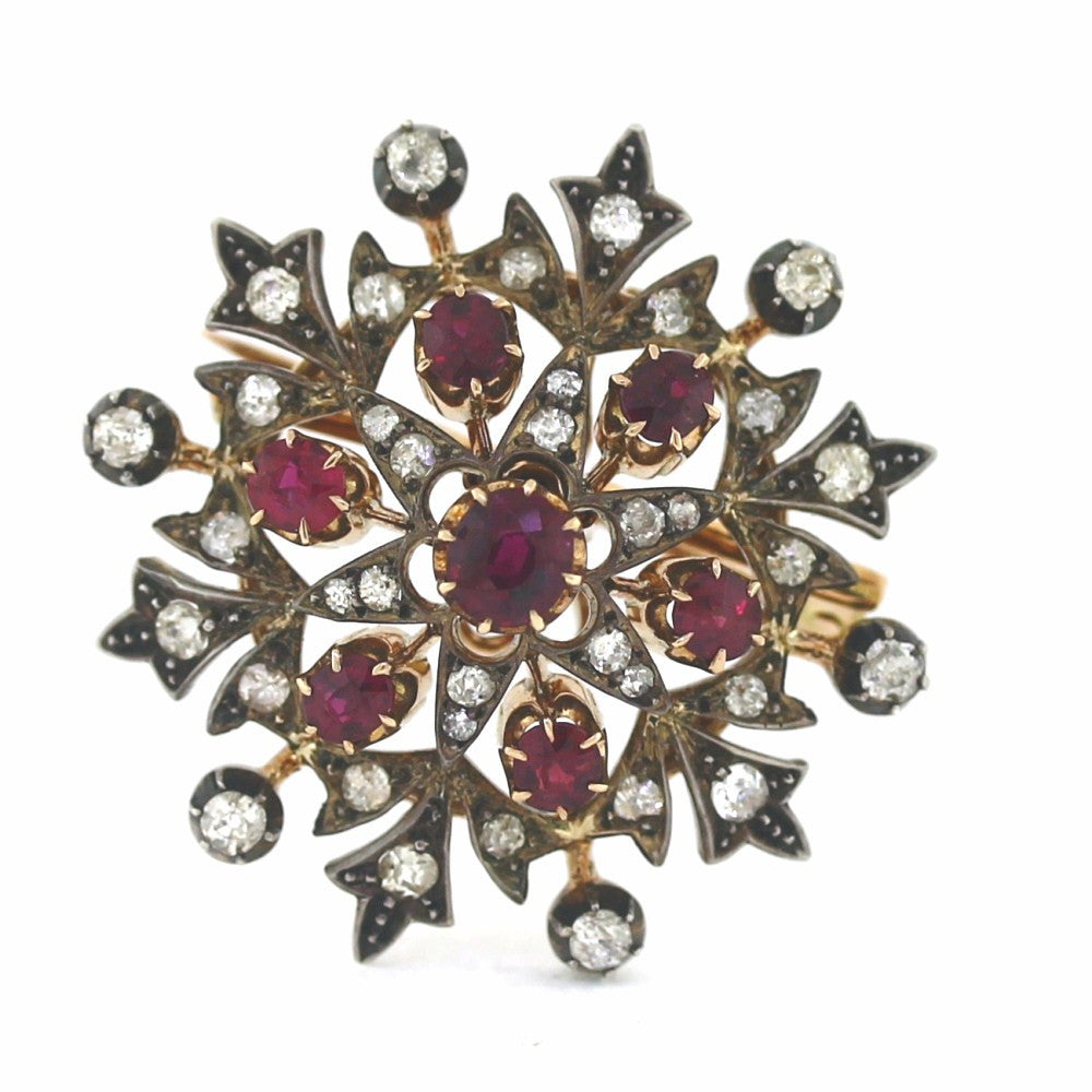 Estate Ruby 4.50cts Diamond 1.00cts Silver Gold Star pin Stainless Steel & Gold PIN1077