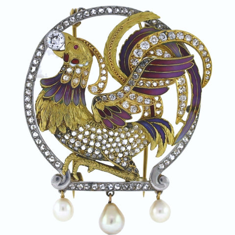 Estate Rooster Brooch Diamond 2.50ctw Enamel Pearl 30.5gr 18K Platinum Pin PN0229