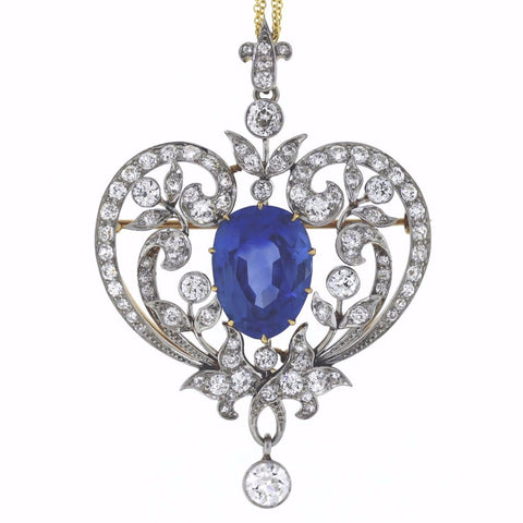 Estate Marcus & Co. Sapphire 15.00ct Old European Cuts 4.50cts Circa 1900 signed 18K Platinum Pin PN0231