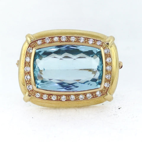Estate Aquamarine 25.00ct 26 Round Brilliant Diamond  = .50ctw  18.4gr 14K Yellow Gold Pin PN0269