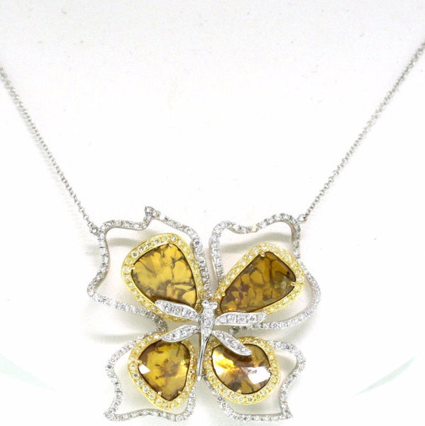 170 Round Brilliant = 1.63 4 Fancy Yellow = 5.39 107 Fancy Yellow = .75 10.75gr Two Tone 18K Gold Necklace PND1397
