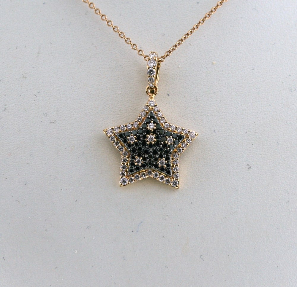50 Black = .48 50 Round Brilliant = .53 3.22gr Star SM with Chain 14K Rose Gold Necklace PND1417