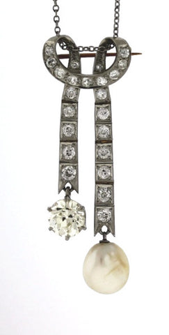 1.60ct Diamond Old European Cut &  2.70ctw Round & Pearl Platinum Necklace Edwardian PNDX0005