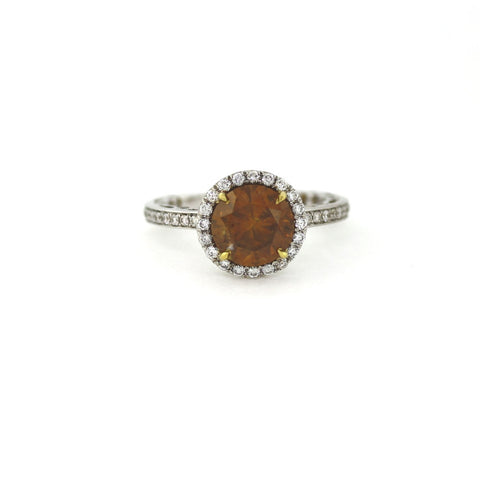 2.67 ct Round Brilliant Diamond Fancy Deep Brown Orange and 54 Round Brilliant Diamonds = .59 cts, 18K White Gold Ring GIA # 15040130 FC2279 SMNT1251