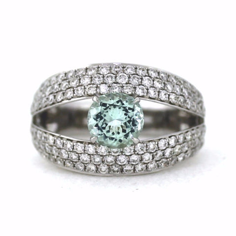 1.28 Pastel Tourmaline 132 Round Brilliant = 1.43tw 7.31gr 18K White Gold Lady's Ring SMNT1348